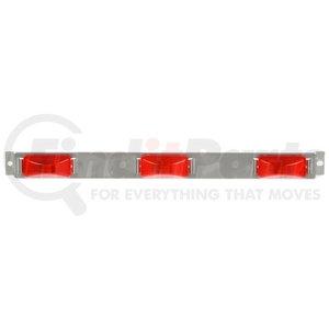 "15741R3 by TRUCK-LITE - 15 Series, Incandescent, Identification Bar, Rectangular, Red, 3 Lights, 6"" Centers, Silver, 12V, Kit, Bulk"