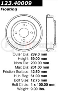 123.40009 by CENTRIC - STANDARD BRAKE DRUM