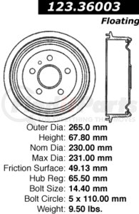 123.36003 by CENTRIC - STANDARD BRAKE DRUM