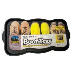 """MBTRY by NEW BUFFALO CORPORATION - Plastic Boot Tray, 29-1/2"""" x 15"""", Durable Plastic with Raised Edge, Holds Three Pair of Boots"""