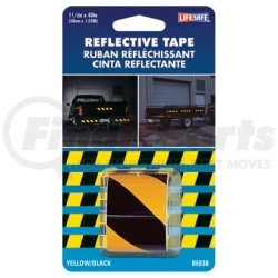 """RE838 by INCOM MFG - Reflective Safety Tape, Yellow/Black Slanted, 1-1/2"""" x 40"""" Roll, Highly Reflective, Engineer Grade"""