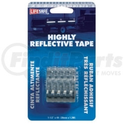 """RE802 by INCOM MFG - Reflective Safety Tape, Silver, 1-1/2"""" x 4' Roll, Highly Reflective"""