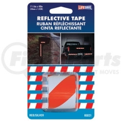 """RE821 by INCOM MFG - Reflective Safety Tape, Red/Silver Slanted, 1-1/2"""" x 40"""" Roll, Highly Reflective, Engineer Grade"""