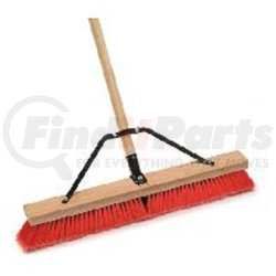 """1426 by LAITNER BRUSH PRODUCTS - Indoor/Outdoor Push Broom, 24"""" Wide Block, with 3"""" Semi-Stiff Inner Synthetic Bristles, 60"""" Handle"""