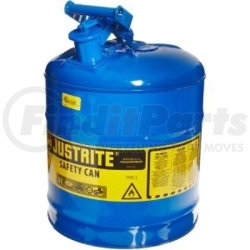 7150300 by JUSTRITE - Blue Metal Safety Can, Type 1, Five Gallon Capacity, for Kerosene and Other Flammable Liquids