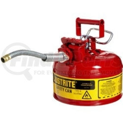 "7210120 by JUSTRITE - Red Metal Safety Can, Type ll, One Gallon Capacity, with 5/8"" x 9"" Flexible Metal Hose, for Gasoline"