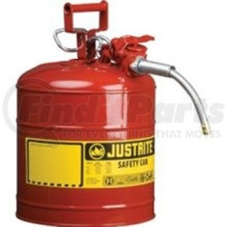 "7220120 by JUSTRITE - Red Metal Safety Can, Type ll, Two Gallon Capacity, with 5/8"" x 9"" Flexible Metal Hose, for Gasoline"