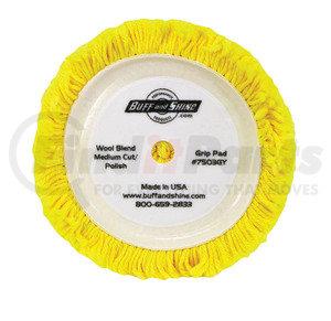"""7503GY by BUFF 'N SHINE - 7.5"""" dia. X 1.5"""" 50% Wool / 50% Acrylic blend 4 ply twisted yarn grip pad """"Polishing pad"""""""