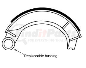 """GG4471TCR by HALDEX - Relined Brake Shoe for 18"""" Meritor Tractor """"P"""" Series - Cast Iron"""