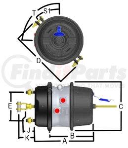 GC3030S4 by HALDEX - GoldSeal Combination Spring Brake - Standard Stroke, 30/30