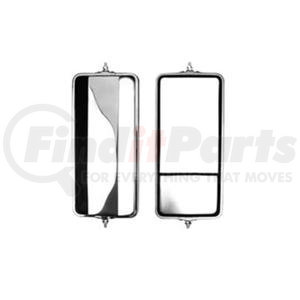 """705334 by VELVAC - Angle Back Round Corner Mirror 7""""x 16"""", Stainless Steel with Split Glass"""