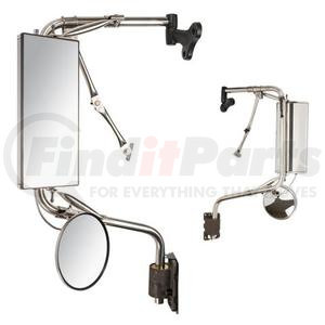 "V514380013 by VELVAC - Mirror Head-Flat Glass Model 438, Stainless Steel, Remote, Heated, Lighted, Left Side, Glass Size 6-7/8""w x 16""h"