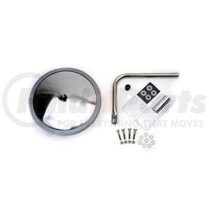 "712644 by VELVAC - Rear Crossview Mirror Kit 10"" Wide View Convex Mirror Head with Bracket, White, Rear Panel Standard Mount"