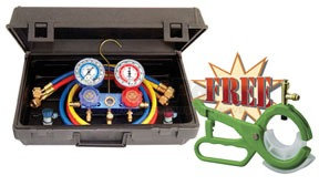 89661PRO by MASTERCOOL - Aluminum 2-Way Manifold Set with 3-in-1 Side Mount Tap Valve