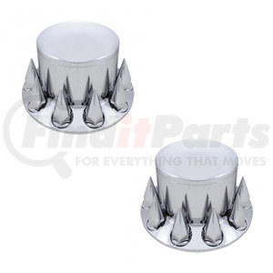 10275-2 by UNITED PACIFIC - Pair of Chrome Plastic Spike Rear Wheel Axle Hub Covers, 33mm Thread On Caps