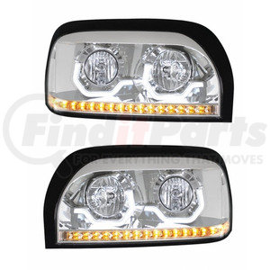KIT1001 by UNITED PACIFIC - Freightliner Century Projection Chrome Headlight Pair w/LED Light Bar