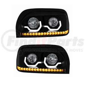 KIT1003 by UNITED PACIFIC - Pair of Blackout Freightliner Century Projection Headlights - Driver & Passenger