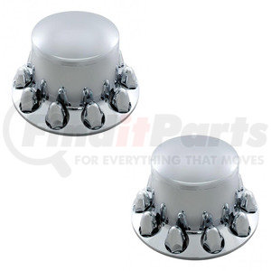 10256-2 by UNITED PACIFIC - Pair of Chrome Plastic Semi Truck Rear Wheel Axle Hub Covers Set