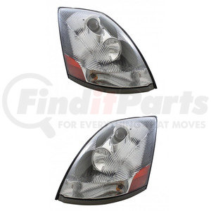 KIT1037 by UNITED PACIFIC - Pair (2) 2004+ Volvo VN/VNL Chrome Projection Headlight w/ LED Light Bar-Set