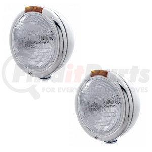 30373-2 by UNITED PACIFIC - Pair (2) SS Classic Peterbilt 6014 Sealed Beam Headlight W/Signal Light - Amber