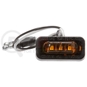 36105Y by TRUCK-LITE - 36 Series, Flex-Lite Side Exit, LED, Yellow Rectangular, 3 Diode, Marker Clearance Light, PC, Adhesive Mount, Hardwired, .180 Bullet Terminal, 12V