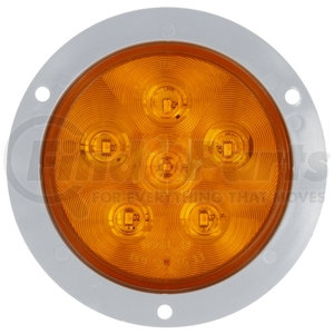 44287Y by TRUCK-LITE - Super 44, Diamond Shell, LED, Yellow Round, 6 Diode, Rear Turn Signal, Gray Flange Mount, Fit 'N Forget S.S., 12V