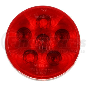 "44302R by TRUCK-LITE - 4"" Round LED Stop/Turn/Tail/Light, Red, 6 LED, 10 Diode"