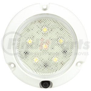 44438C by TRUCK-LITE - Super 44, LED, 6 Diode, Round Clear, Dome Light, White Flange Mount, Hardwired, Stripped End, Push Button Switch, 12V