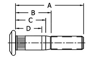 "10001331 by CONMET - STUD WHEEL METRIC    M22 X 1.5MM X 5.15"""