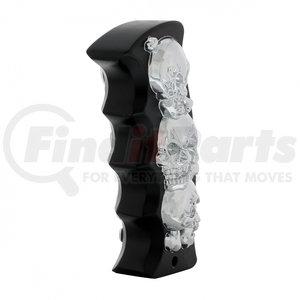 70711 by UNITED PACIFIC - Black/Chrome Skulls Pistol Grip Shift Knob