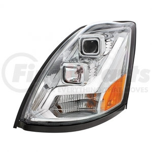 31445 by UNITED PACIFIC - 2004+ Volvo VN/VNL Chrome Projection Headlight w/ LED Position Light Bar - Driver