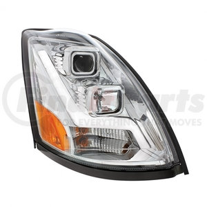 31446 by UNITED PACIFIC - 2004+ Volvo VN/VNL Chrome Projection Headlight w/ LED Position Light Bar - Passenger