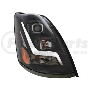 "31448 by UNITED PACIFIC - 2004+ Volvo VN/VNL ""Blackout"" Projection Headlight w/ LED Position Light Bar - Passenger"