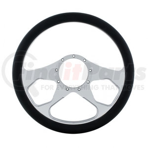 """88301 by UNITED PACIFIC - 14"""" Chrome Aluminum 3 Spoke Style Steering Wheel With Black Engineered Leather Grip"""