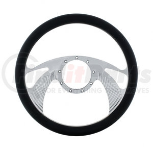 """88304 by UNITED PACIFIC - 14"""" Chrome Aluminum Scorpion Style Steering Wheel With Black Engineered Leather Grip"""