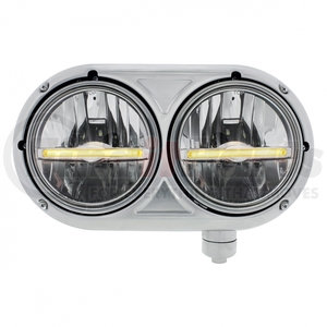 32141 by UNITED PACIFIC - Peterbilt 359 Stainless Dual Headlight w/ 9 LED Bulb & Amber LED Position Light Bar - Passenger