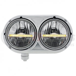32142 by UNITED PACIFIC - Peterbilt 359 Stainless Dual Headlight w/ 9 LED Bulb & Amber LED Position Light Bar - Driver