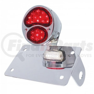 """20320 by UNITED PACIFIC - Chrome Horizontal Side Mount License Bracket With 1928 LED """"DUO Lamp"""" Tail Light"""