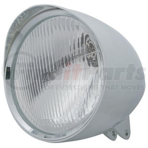 """32525 by UNITED PACIFIC - Motorcycle Chrome """"Chopper"""" Headlight w/ Smooth Visor H4 Bulb"""