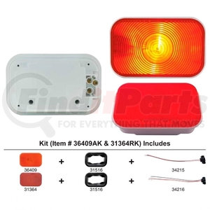 36409AK by UNITED PACIFIC - Rectangular Turn Signal Light Kit - Amber Lens