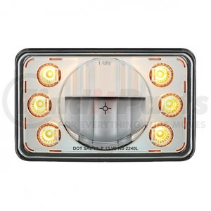 """31237 by UNITED PACIFIC - LED 4"""" x 6"""" Headlight w/ Dual Function 6 Amber LED Position Lights - Low Beam"""