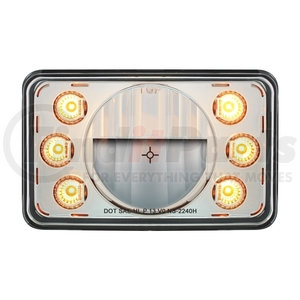 """31238 by UNITED PACIFIC - LED 4"""" x 6"""" Headlight w/ Dual Function 6 Amber LED Position Lights - High Beam"""