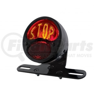 """20293 by UNITED PACIFIC - """"DUO Lamp"""" Motorcycle Rear Fender Tail Light w/ Red Glass Lens & """"STOP"""" Lettering"""