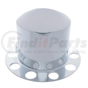 """21211 by UNITED PACIFIC - Stainless Dome Rear Axle Cover 2PC Kit w/ 1 1/2"""" Nut Cover - Aluminum Wheel"""