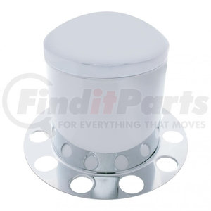 """21213 by UNITED PACIFIC - Stainless Dome Rear Axle Cover 3PC Kit w/ 1 1/2"""" Nut Cover - Aluminum Wheel"""