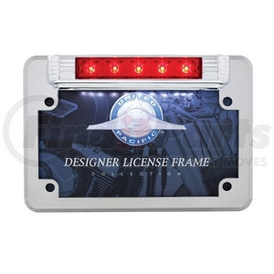 110205 by UNITED PACIFIC - Chrome Motorcycle License Plate Frame With 3rd Brake Light - Red LED/Red Lens