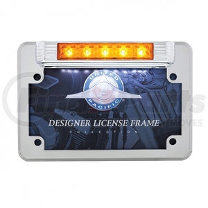 110210 by UNITED PACIFIC - Chrome Motorcycle License Plate Frame With Auxiliary Light - Amber LED/Amber Lens
