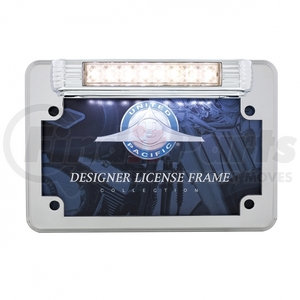 110211 by UNITED PACIFIC - Chrome Motorcycle License Plate Frame With Back- Up Light - White LED/Clears Lens
