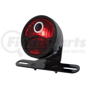 """20291 by UNITED PACIFIC - """"DUO Lamp"""" Motorcycle Rear Fender Tail Light w/ Red Glass Lens & Blue Dot"""
