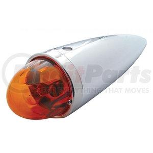30533 by UNITED PACIFIC - Chrome Die Cast Torpedo Cab Light w/ Original Glass Lens & 1156 Bulb - Dark Amber